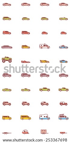 Set of the different types of cars - stock vector