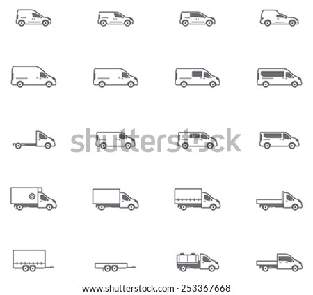 Set of the different types of commercial transport vehicles  - stock vector