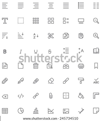 Set of the document editing related glyphs - stock vector