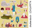 Set of the doodle sketches. Italy travel icons. - stock vector