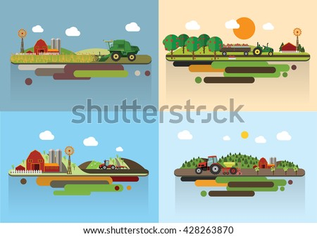 Set of the farming agriculture concept flat vector illustration.