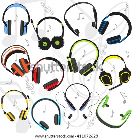 Set of the flat colored headphones, objects on the background of the music, vector illustration, eps 10. - stock vector