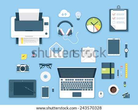 Set of the flat objects on the office table - stock vector