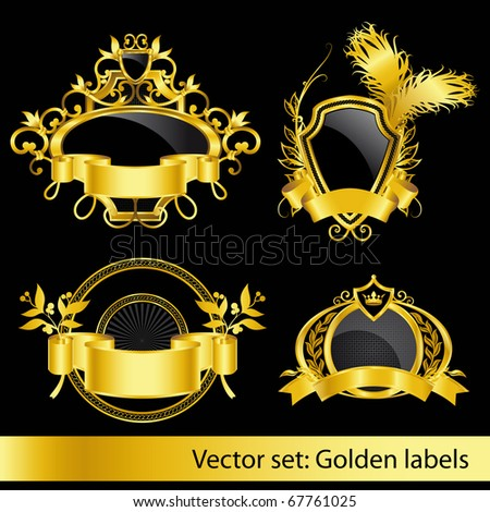 set of the golden vintage labels - stock vector