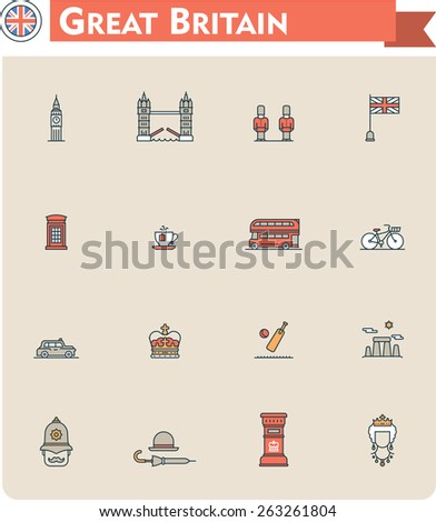 Set of the Great Britain traveling related icons - stock vector