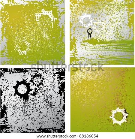 Set of the grunge background with gears - stock vector