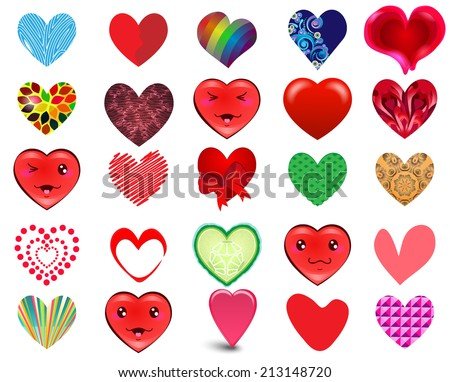 Set of the hearts 2 - stock vector