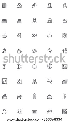 Set of the hotel services related icons - stock vector