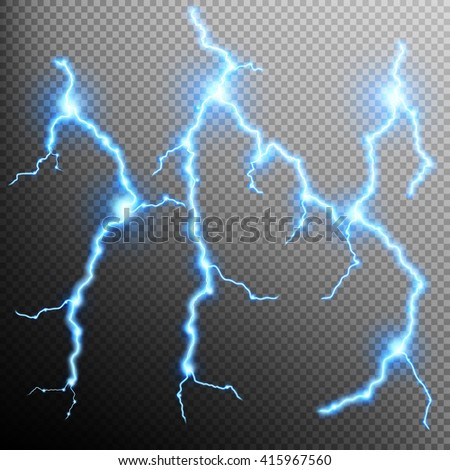 Set of the isolated realistic lightnings with transparency for design. Natural effects. EPS 10 - stock vector