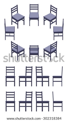 Set of the isometric black chairs. The objects are isolated against the white background and shown from different sides - stock vector