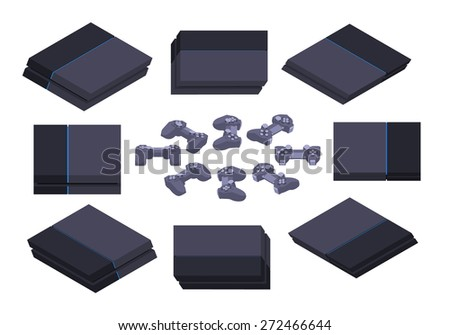 Set of the isometric black gaming consoles. The objects are isolated against the white background and shown from different sides - stock vector
