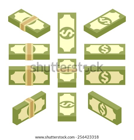 Set of the isometric bundles of paper money. The objects are isolated against the white background and shown from different sides - stock vector