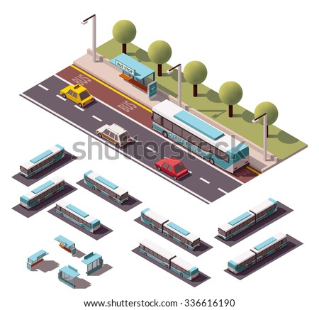Set of the isometric buses and bus stops - stock vector