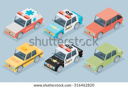 Set of the isometric cars - stock vector