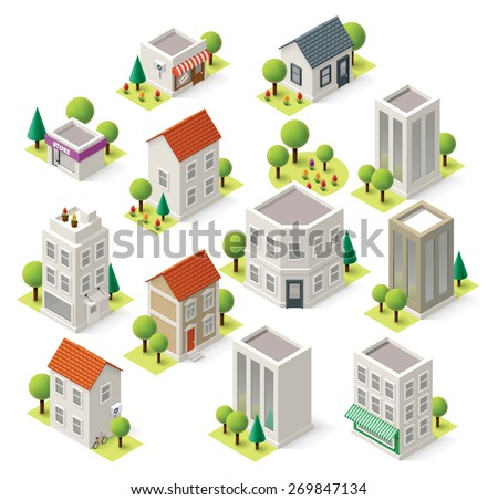 Set of the isometric city buildings and shops - stock vector