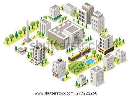 Set of the isometric city buildings, shops and other elements - stock vector