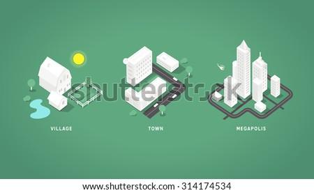 Set of the isometric city buildings. Village town megapolis. 3d isometric symbols. - stock vector