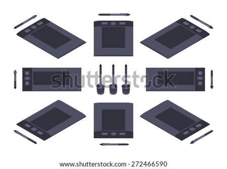 Set of the isometric graphic tablets. The objects are isolated against the white background and shown from different sides - stock vector