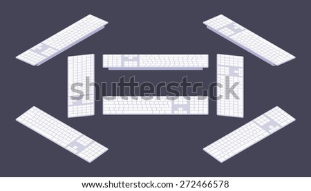 Set of the isometric keyboards. The objects are isolated against the dark-violet background and shown from different sides - stock vector