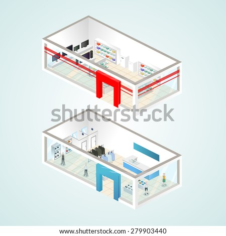 Set of the isometric shops and other elements (Home appliance, Clothing). Vector illustration. - stock vector