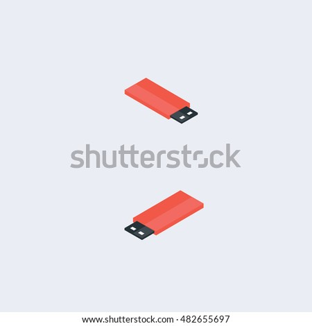 Set of the isometric USB flash-drives.