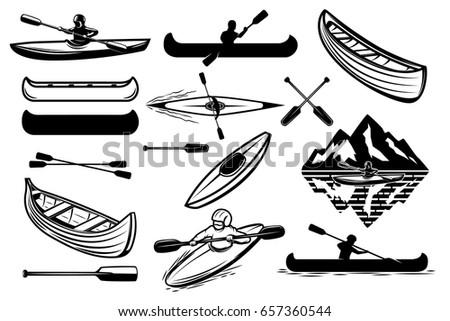 Set of the kayaking sport icons. Canoe, boats, oars mans. Design elements for logo, label, emblem, sign. Vector illustration