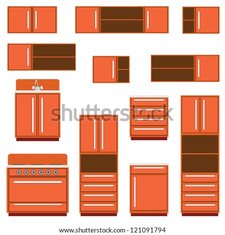 Set of the kitchen furniture on the white background. - stock vector