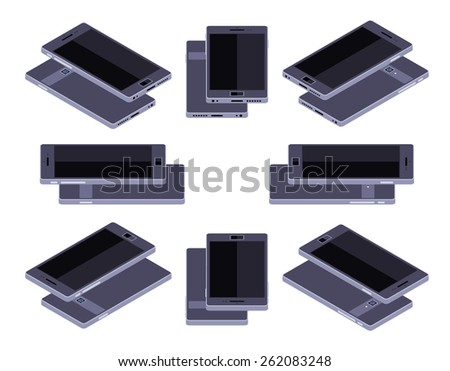 Set of the lying isometric generic black smartphones. The objects are isolated against the white background and shown from different sides - stock vector