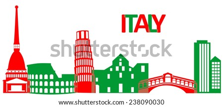 Set of the main attractions and architecture of Italy. - stock vector