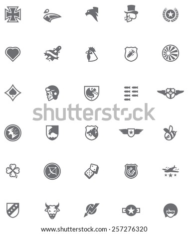 Set of the military emblems in World War 2 style - stock vector