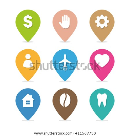 Set of the multicolored map point. Hand with map pointer icon. Plane with map pointer icon. People with map pointer icon. Tooth with map pointer icon. House with map pointer icon.   - stock vector