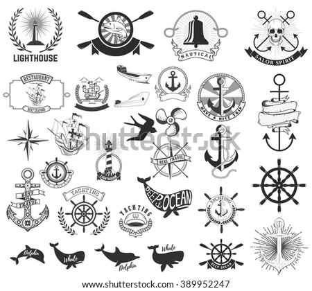 Set of the nautical labels, emblems and design elements. Lighthouse, yachting, deep ocean, anchors, whales, dolphins. Nautical animals icons.Vector  elements for nautical emblems and signs.