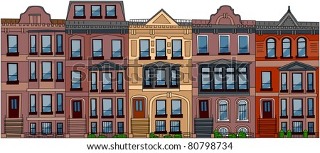 Set of the old American city abstract buildings (3). Series of the cartoon buildings. - stock vector