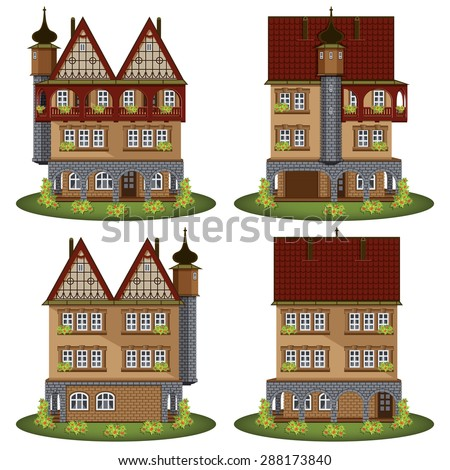 Set of the old style houses. Vector illustration. - stock vector