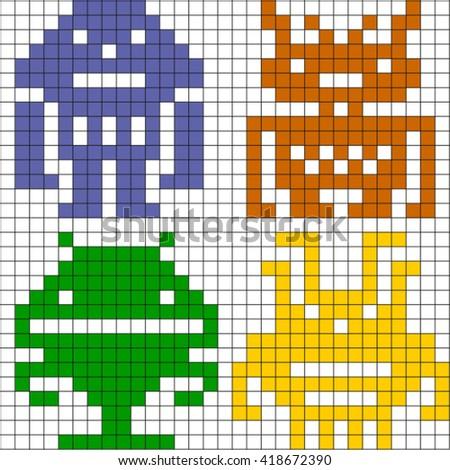 Set of the pixel robots. - stock vector