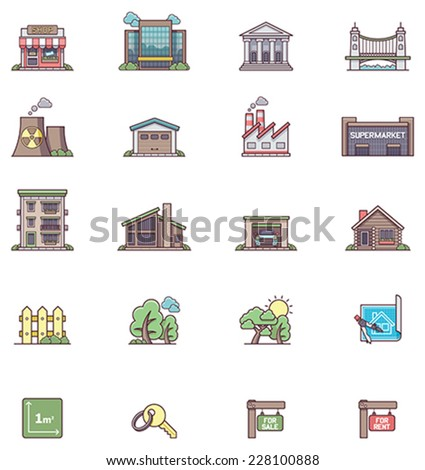 Set of the real estate icons - stock vector