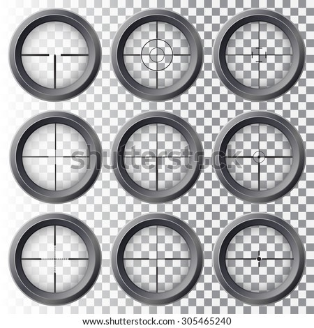 Set of the real gun sights. - stock vector