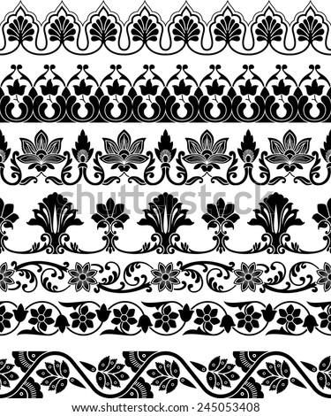 set of the seven ornamental border for your design. Vector illustration  black on the white background - stock vector
