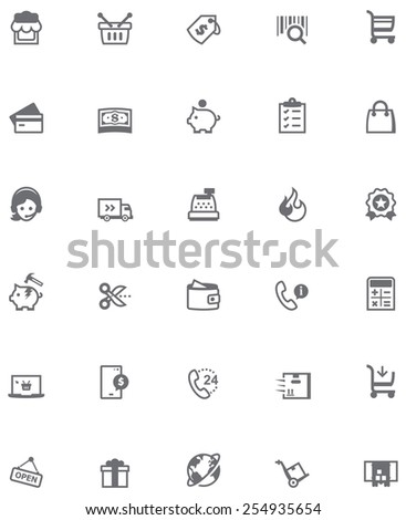 Set of the shopping related icons - stock vector