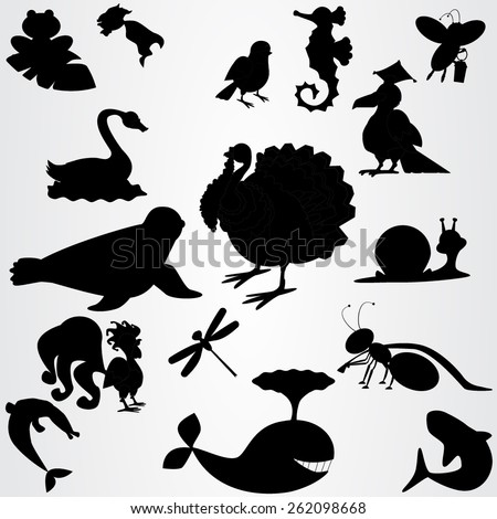 Set of the silhouettes with animals, birds, insects and fish. Monochrome vector. - stock vector
