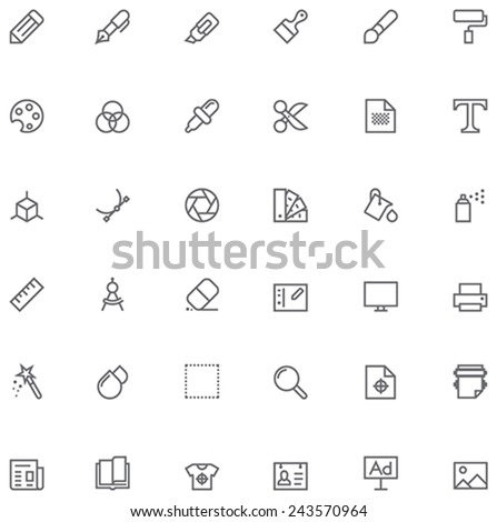 Set of the simple graphic design related glyphs - stock vector