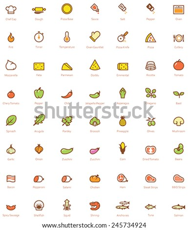 Set of the simple pizza related glyphs - stock vector