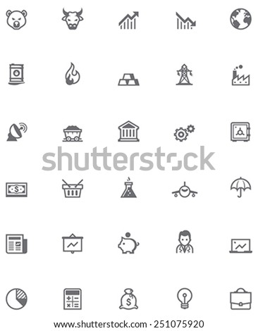 Set of the stock market related icons - stock vector