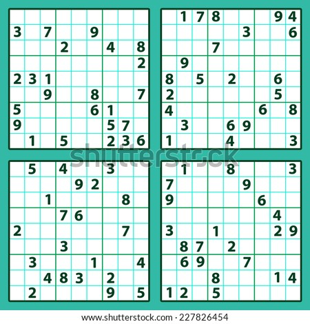 Set of the sudoku, number place combinatorial puzzles - stock vector