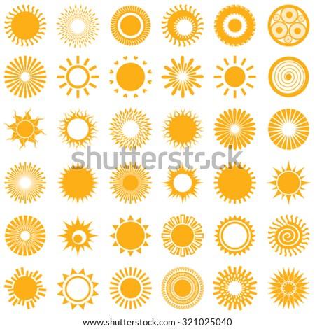 Set Sun Symbols Stock Vector Royalty Free 321025040 Shutterstock
