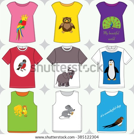 Set of the t-shirts with cartoon animals - stock vector