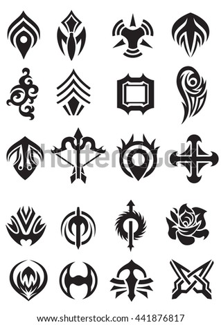 set of the tattoo images, stylized black and white drawings for silk print or engraving