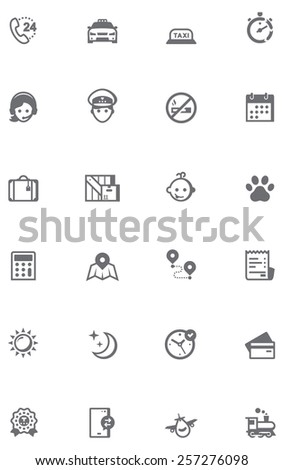 Set of the taxi related icons. - stock vector