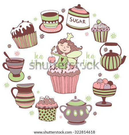 Set of the tea time elements and cute fairy.Tea and Cake background.  - stock vector