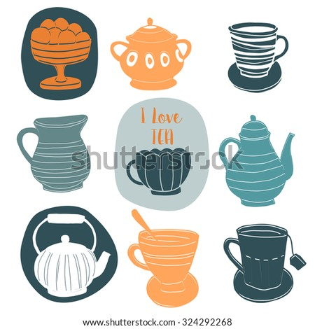 Set of the tea time elements.Tea background.  - stock vector